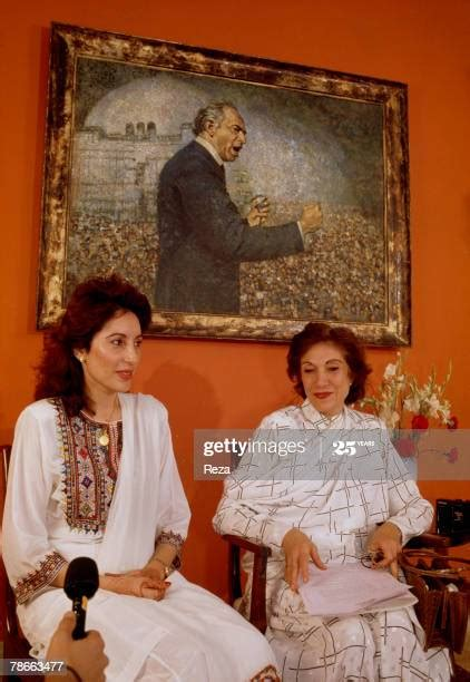 Benazir Bhutto and her mother Nasrat Bhutto during an