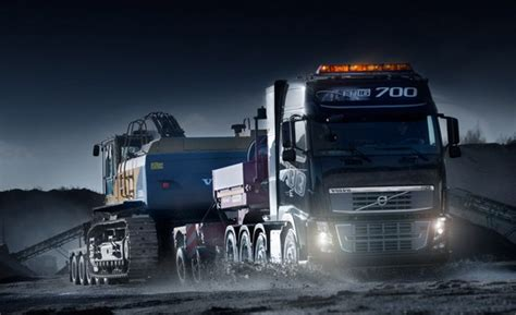 Volvo truck with LED headlights and LED interior lighting